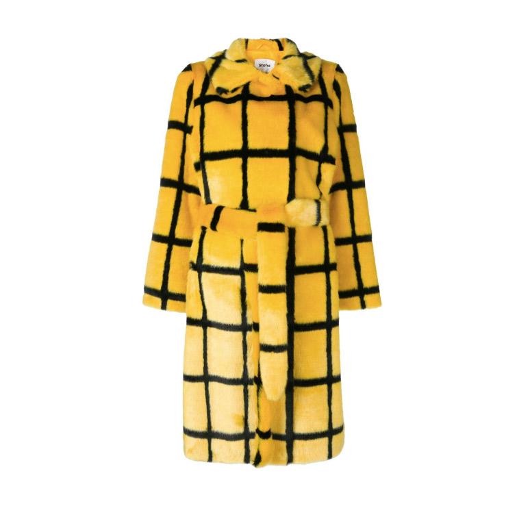 Stand Studio Irina checked faux fur coat