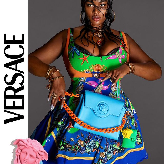 Model Posing in Versace Spring Summer 2021 Campaign