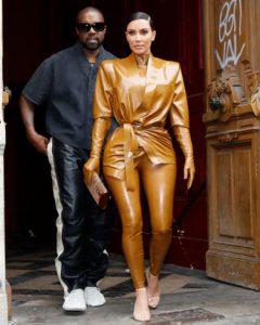 Kim Kardashian in balmain latex suit