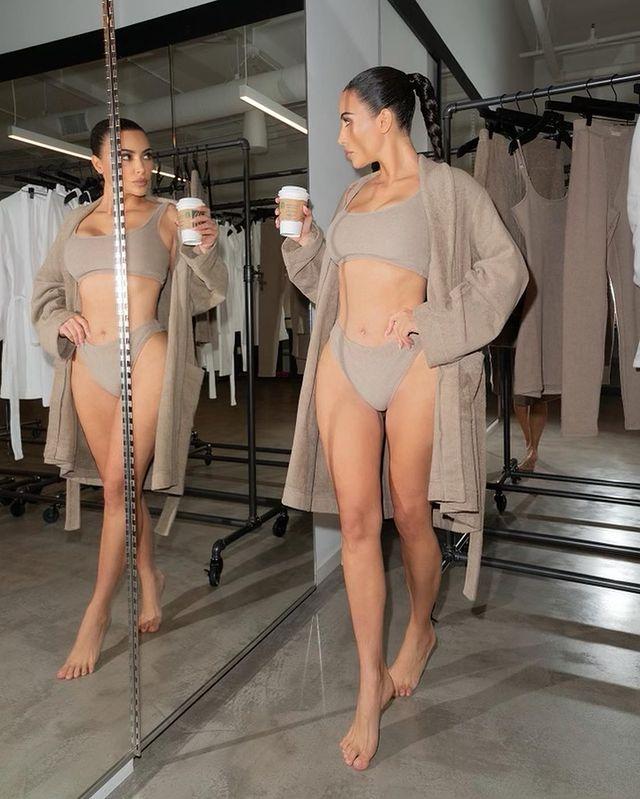 Kim Kardashian in Nude terry loungewear