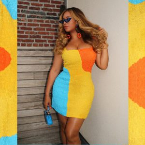 Beyonce in Neon terry mini dresses