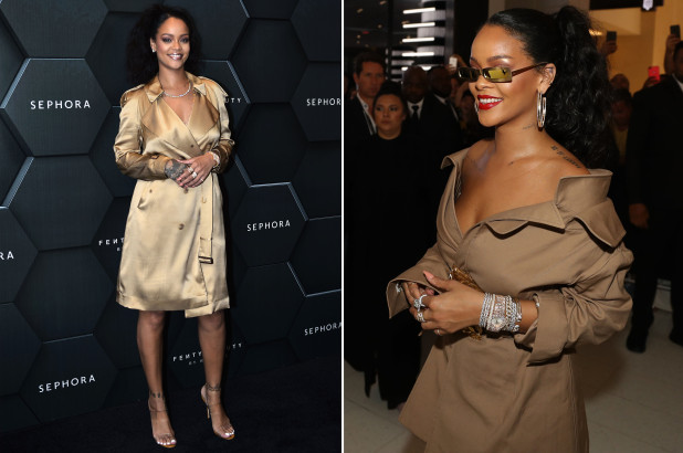 Rihanna in monse trench coat