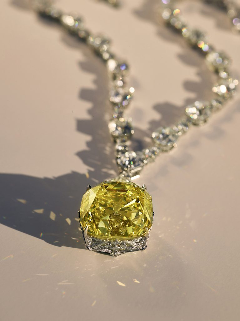 The Tiffany Diamond is worn by Beyoncé in the campaign.