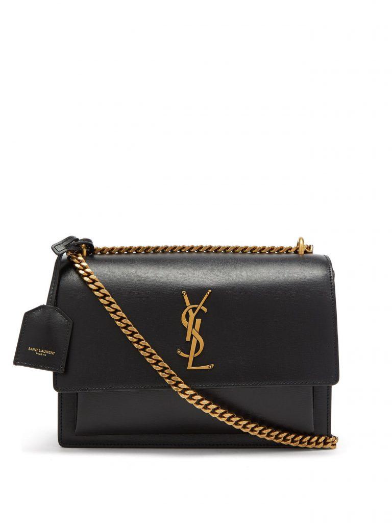 SAINT LAURENT Sunset medium YSL-plaque leather shoulder bag £1,700