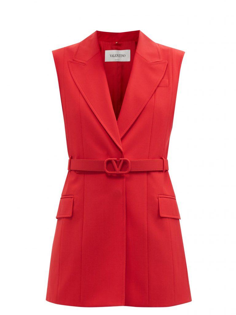 VALENTINO Sleeveless belted technical-gabardine jacket £2,150