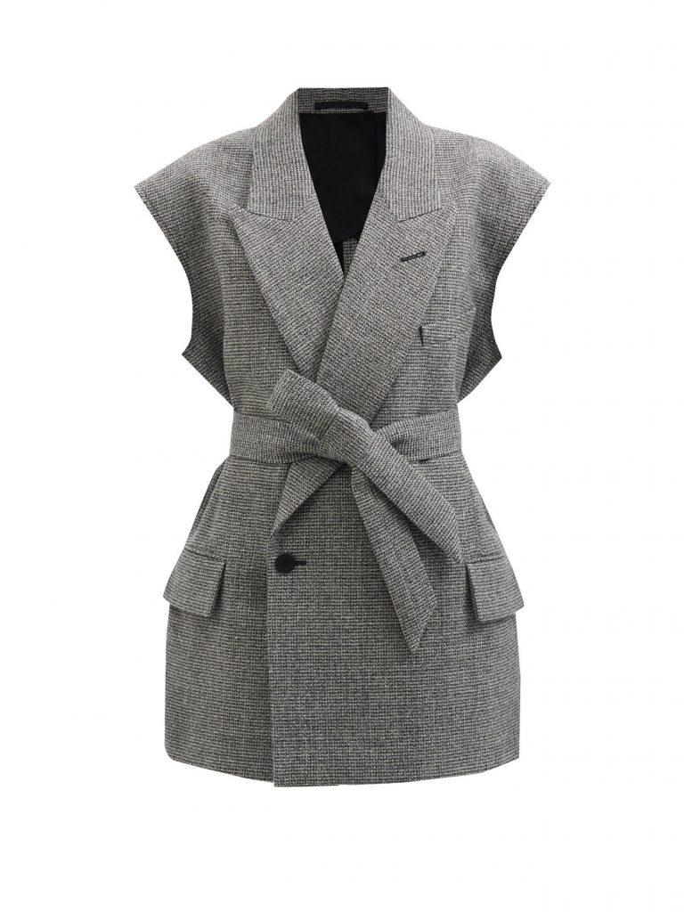 RAEY Sleeveless raw-edge wool-blend belted jacket £495