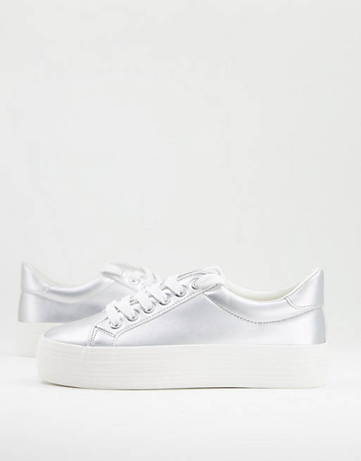 Miss Selfridge Trickster lace up trainer silver current price £25.00£25.00