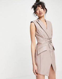 ASOS DESIGN PU sleeveless tux mini dress with corset tie detail £45.00