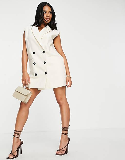 4th & Reckless shoulder pad blazer dress in cream £52.00