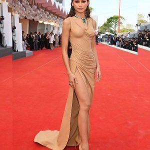 Zendaya Spotted In Custom Balmain & Bulgari Emeralds At The 78th Annual Venice International Film Festival