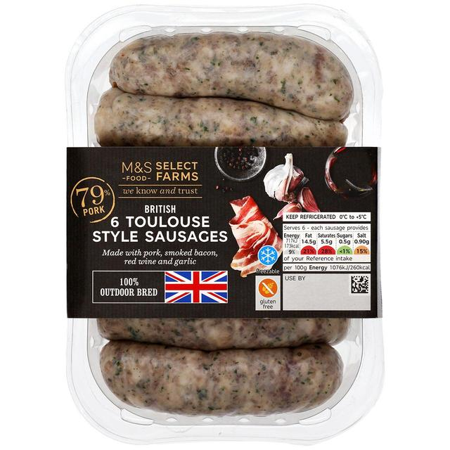 M&S Select Farms British 6 Toulouse Style Sausages