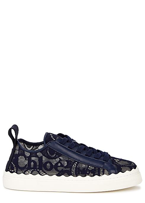 CHLOÉ Lauren navy lace sneakers £370.00