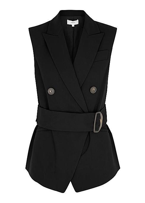 VINCE Black wool-blend sleeveless blazer £545.00