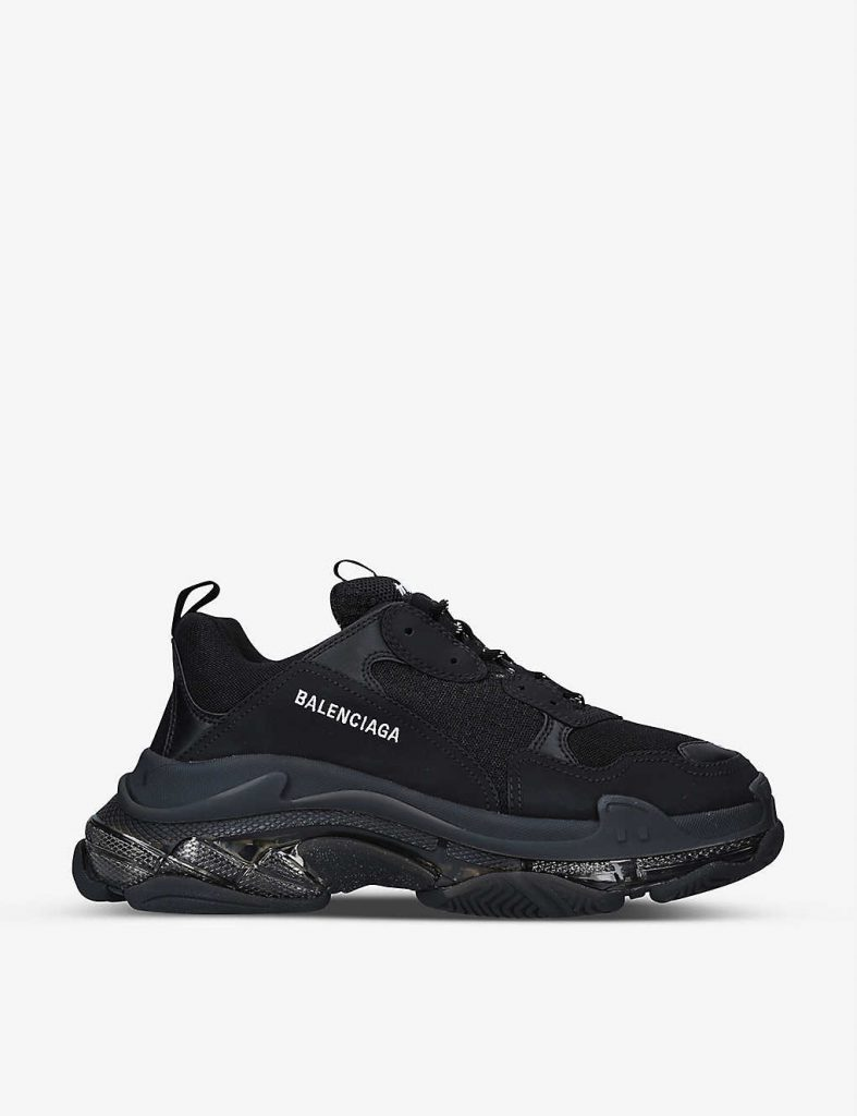 BALENCIAGA Men's Triple S leather and mesh mid-top trainers £795.00