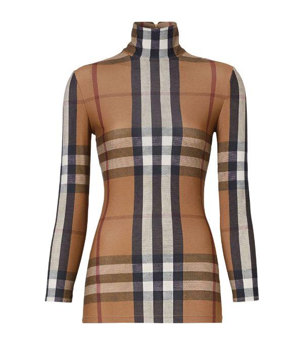 BURBERRY Vintage Check Stretch Jersey Turtleneck Top £430