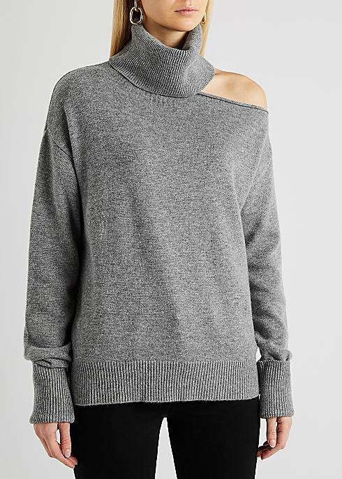 PAIGE Raundi grey cut-out wool-blend jumper £295.00