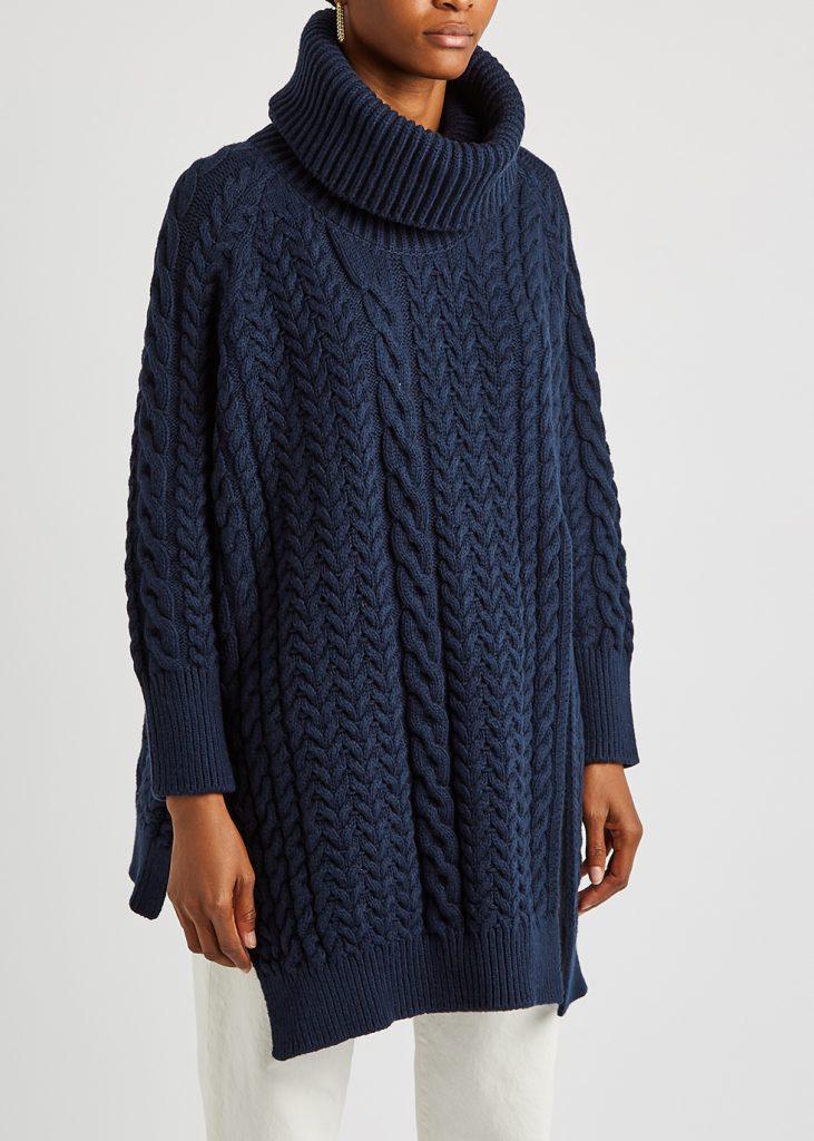 STELLA MCCARTNEY Navy roll-neck cable-knit jumper £925.00